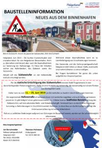Bautelleninformation für den Helgoländer Binnenhafen im Juni 2019.